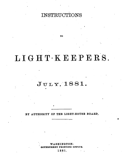 Lighthouse Keepers Rules 1881